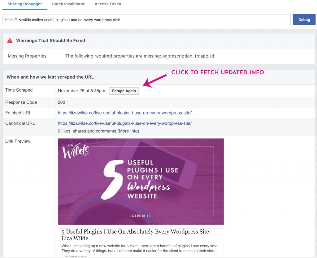 Facebook debugger tool