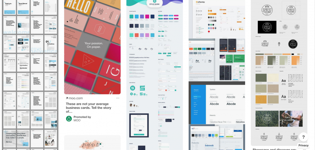 an example of style guides on Pinterest