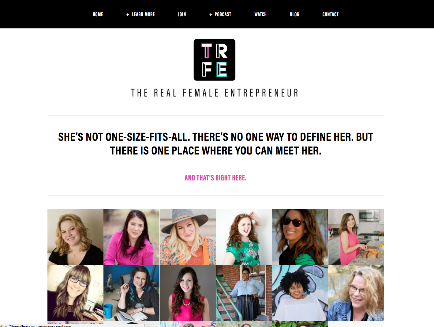 Simple website navigation from The Real Female Entrepreneur website