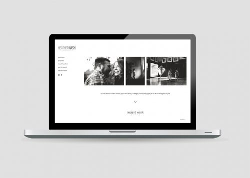 Laptop view of the responsive web design for Heather Nash Photography
