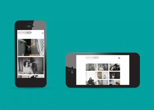 Mobile device view of the responsive web design for Heather Nash Photography