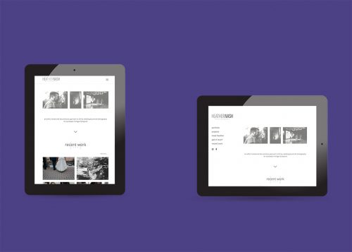 Tablet device view of the responsive web design for Heather Nash Photography