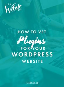 Pinterest graphic for How to Vet Plugins for Your WordPress Website on Liza Wilde Co.