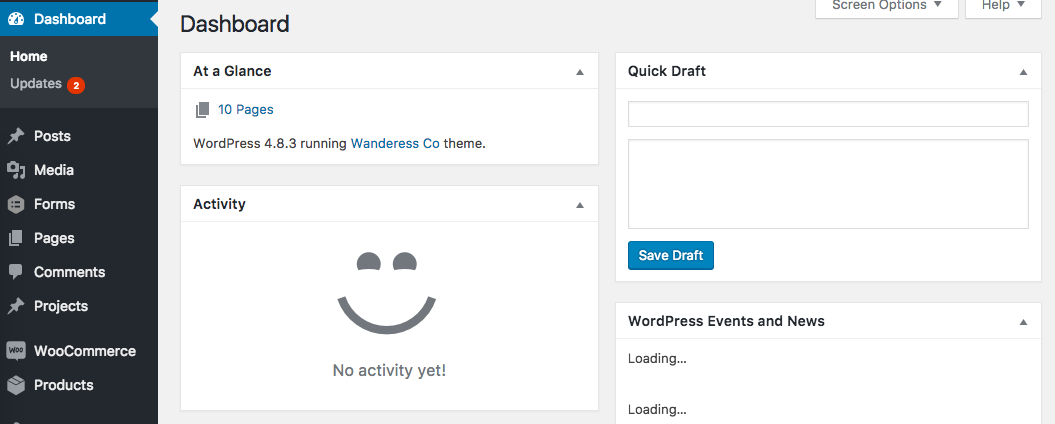Screenshot of a WordPress Dashboard At A Glance Widget