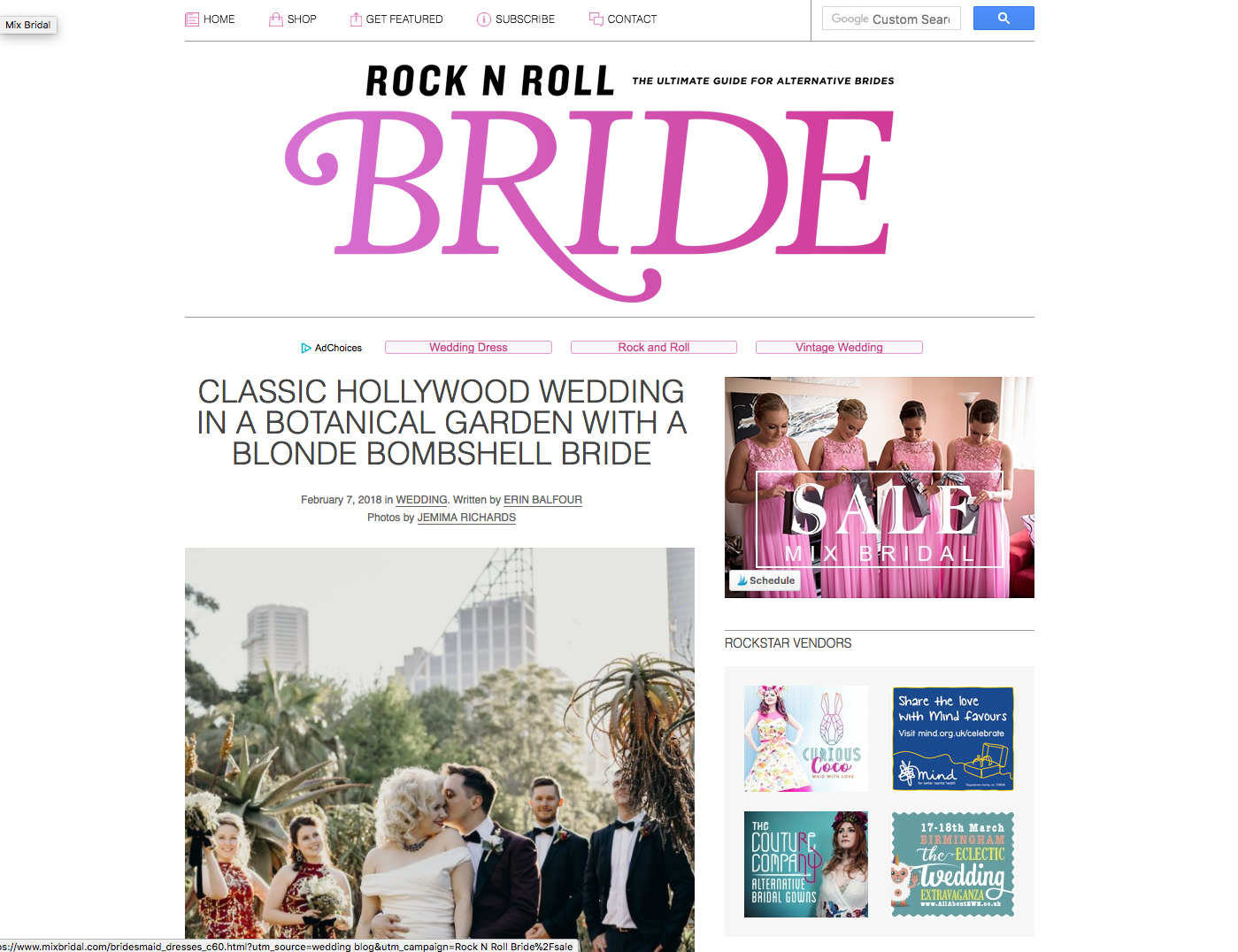Simple website navigation on Rock N Roll Bride