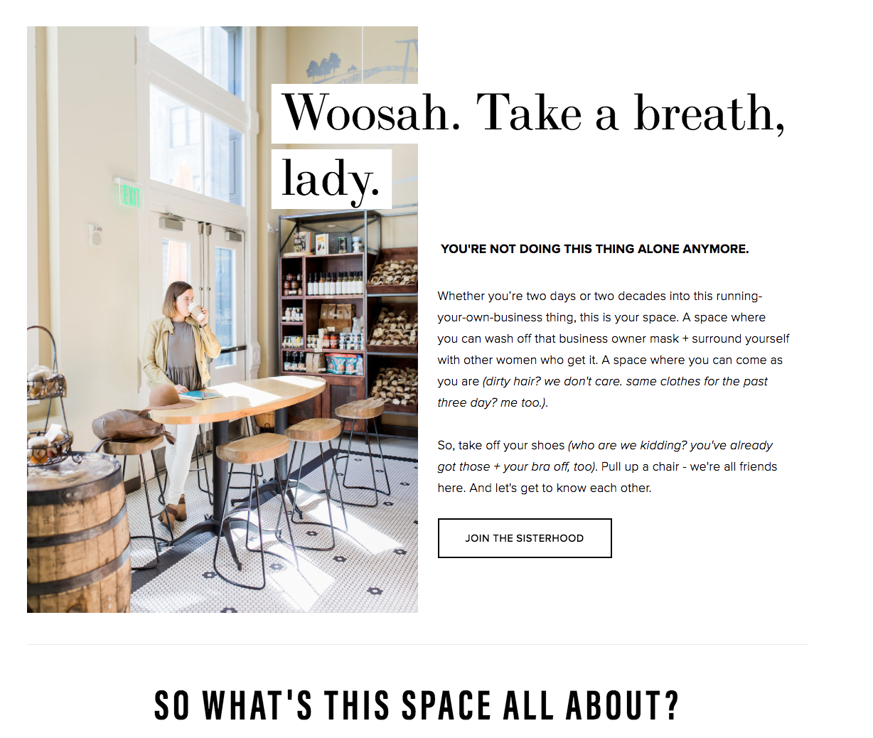 Whitespace use on The Real Female Entrepreneur website