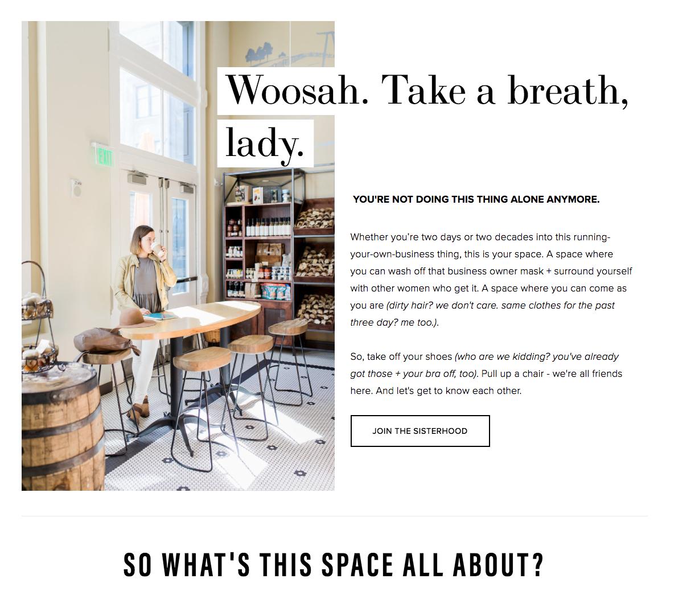 Whitespace use on The Real Female Entrepreneur website